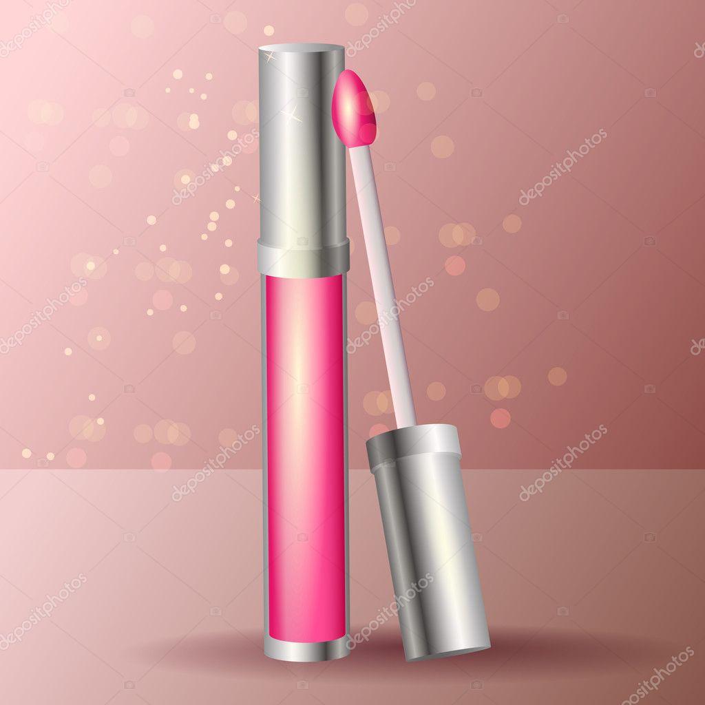 Vector pink lipstick, vector design stock vector