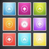 vektor készlet-ból különböző színes nyilak gombok.