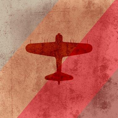 Vector retro airplane on grunge background stock vector