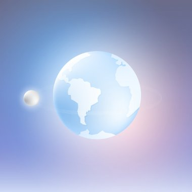 Planet Earth and Moon. Vector Illustration stock vector
