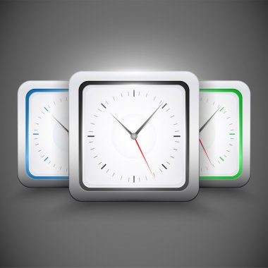 Square clocks, vector design stock vector