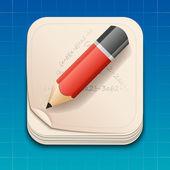 Vektor-Symbol des Bleistifts auf Papier.