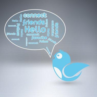 Blue bird with speech bubble. Vector illustration. stock vector