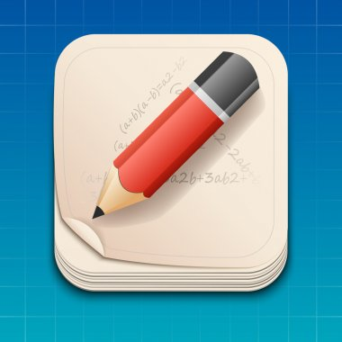 Vector icon of pencil on paper.