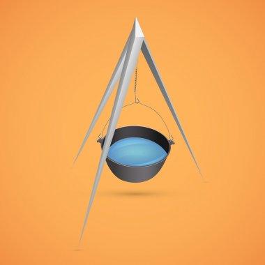 Black kettle for campfire on tripod vector illustration stock vector