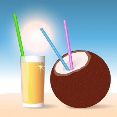 Coconut Cocktail. Vector Illustration stock vector