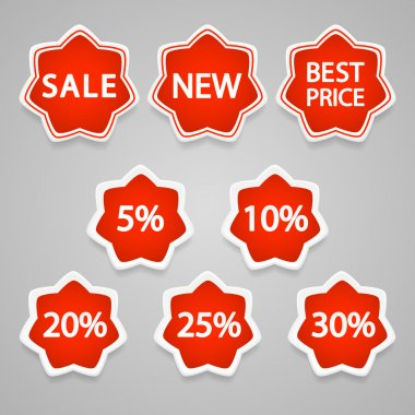 Set of vector sale stickers and labels. stock vector