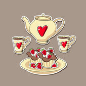 Vector background with cupcakes and teapots.
