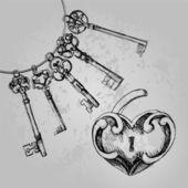 Decorative heart shaped lock with keys.