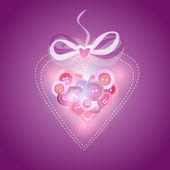 Pink heart filled with buttons - vector illustration