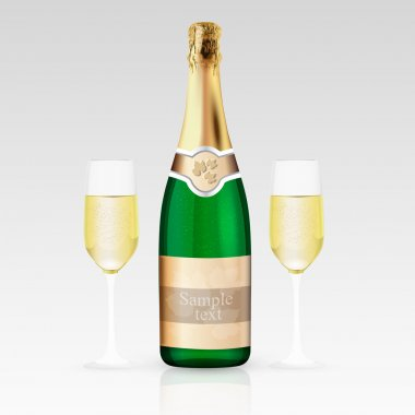 Glass and bottle of champagne. Vector illustration. stock vector