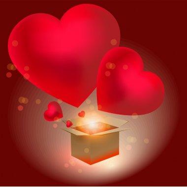 Heart gift present Valentine's day vector background stock vector