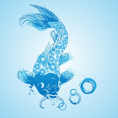 Vector blue catfish, vector design stock vector