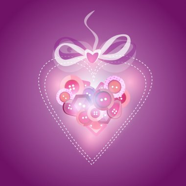 Pink heart filled with buttons - vector illustration stock vector