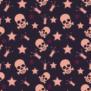 Seamless background with skulls, crowns and stars stock vector