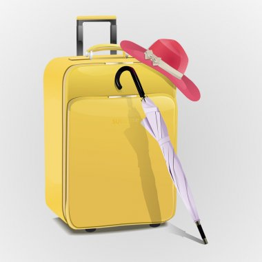 Vector suitcase with hat and umbrella stock vector