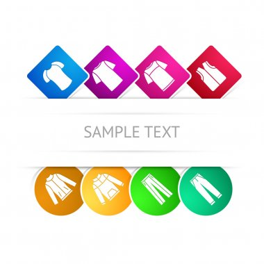 Vector set of clothes colorful icons. Sample text stock vector