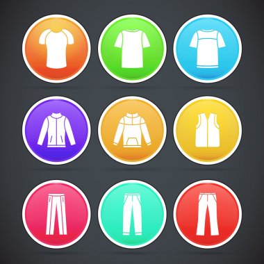 Vector set of clothes colorful icons stock vector