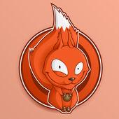 Cartoon-Eichhörnchen hält Nüsse.