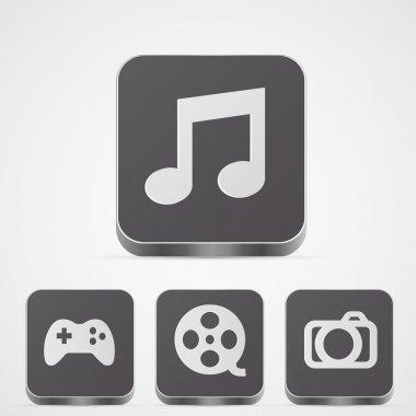 Vector set app media buttons stock vector