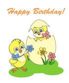 narozeninové přání s kuřetem