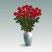 Piros rózsák a vázában