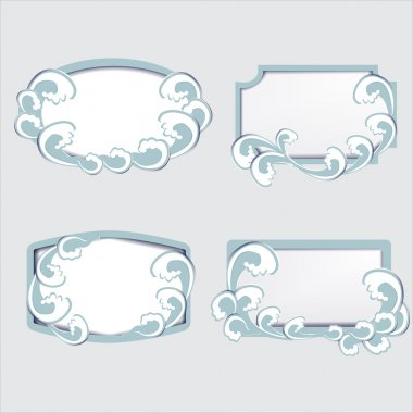 Set of vector frames with waves stock vector