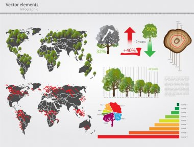 Eco info graphic vector with map of World stock vector