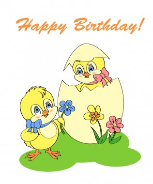 Birthday greeting card with chicken stock vector