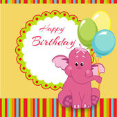 Všechno nejlepší k narozeninám karta s růžového slona