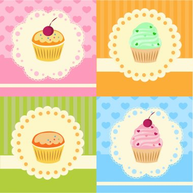 Set of vector cupcakes with lace stock vector