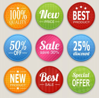 Set of colorful advertising stickers. Vector illustration stock vector