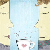 Vector Couple in Love with cup of notes and hearts