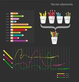 Infographic vektor elemek - színes ceruzák