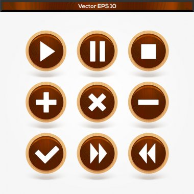 Set of round wooden media player buttons stock vector