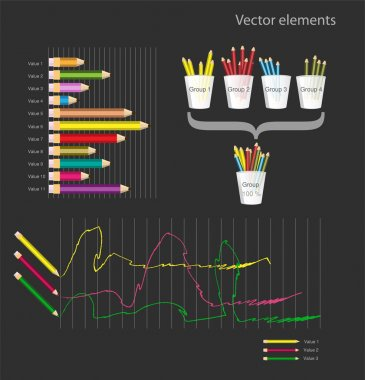 Set of infographic vector elements - colored pencils stock vector
