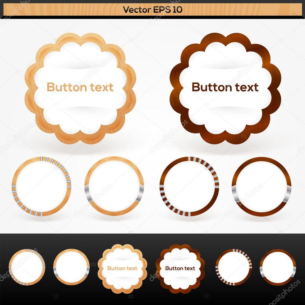 Vector set of wooden buttons stock vector