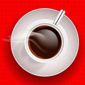 csésze kávé, piros háttér. vektoros illusztráció.