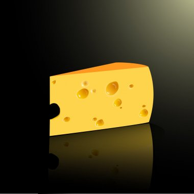 Slab of cheese. Vector illustration on black background stock vector