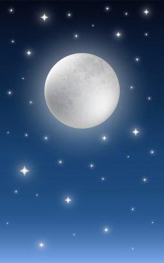 Full moon on starry night sky background stock vector