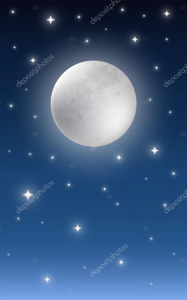 Full Moon Starry Night Sky Background — Stock Vector