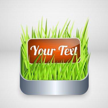 Vector wooden button on grass. stock vector