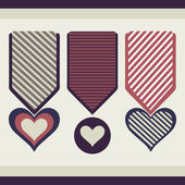 Collection of medals in the form of hearts.