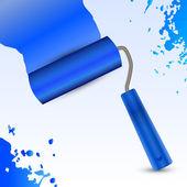 Vector blue roller brush.