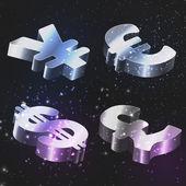 vektorové sada znaků s dolar, euro, Libra šterlinků a jen.