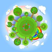 Eco země se stromy. vektorové ilustrace.