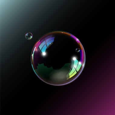 Soap bubbles on black background. Vector illustration. stock vector