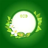 zelená listová rámeček obrázku s květinami