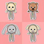 Cheerful cat, bear, pig, dog, puppy and the rabbit.Vector Illustration, animal-toys for children