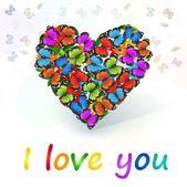 Vektor Herz voller farbiger Schmetterlinge